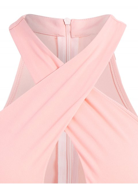 best Sleeveless Cross Keyhole Bodysuit - PINK S Mobile