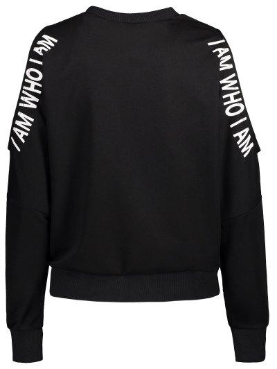 Cut Out Text Print Sweatshirt - BLACK L Mobile