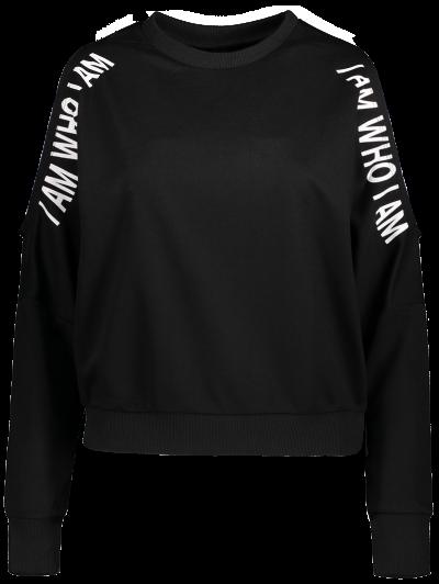 Cut Out Text Print Sweatshirt - BLACK M Mobile