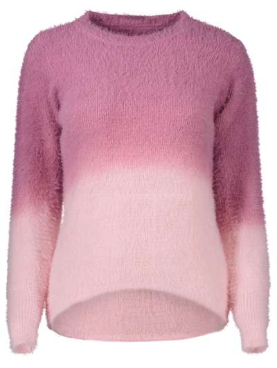Ombre High-Low Sweater - ROSE RED ONE SIZE Mobile