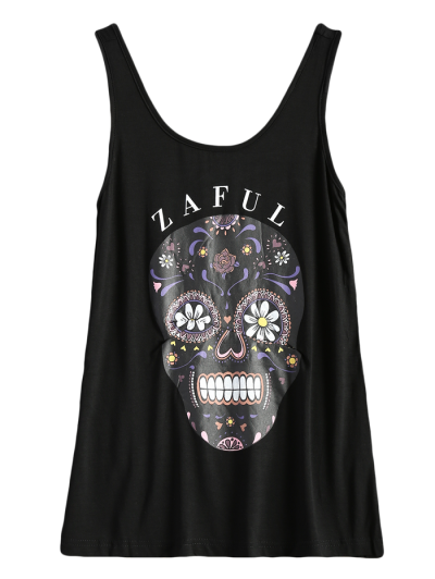 Skull Print Logo Tank Top - BLACK S Mobile