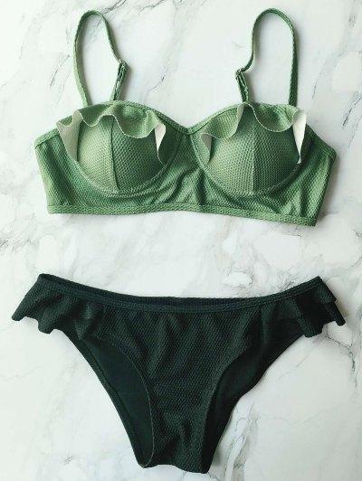 Cami Ruffles Push Up Bikini Set - BLACK M Mobile