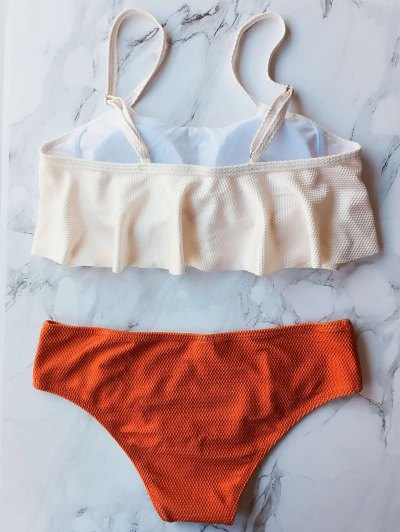 Color Block Covered Bikini Set - RED L Mobile