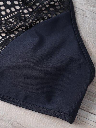 Cut Out Lacework Bikini Set - DEEP BLUE L Mobile