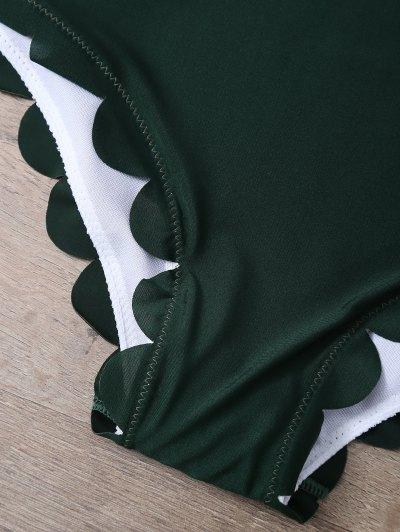 Scalloped U Neck One-Piece Swimwear - DEEP GREEN XL Mobile