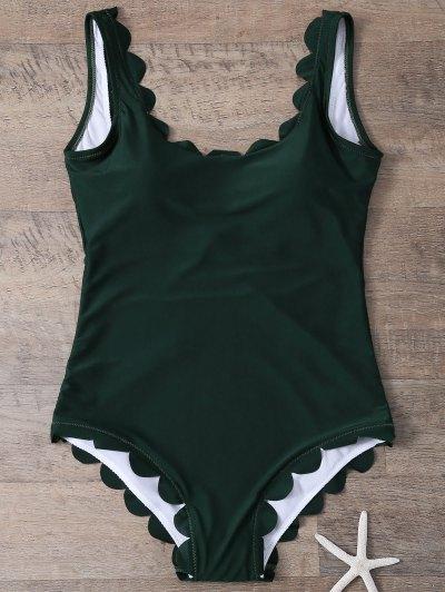 Scalloped U Neck One-Piece Swimwear - DEEP GREEN L Mobile