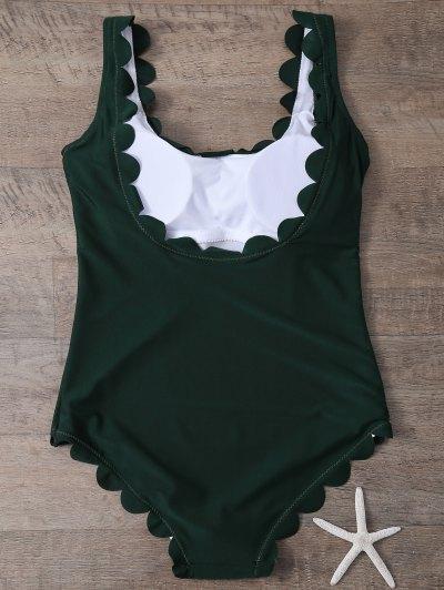 Scalloped U Neck One-Piece Swimwear - DEEP GREEN S Mobile