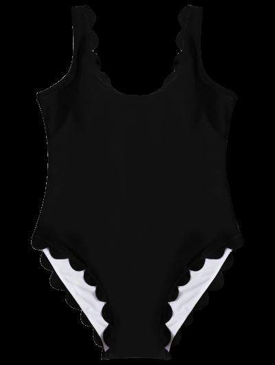 Scalloped U Neck One-Piece Swimwear - BLACK L Mobile