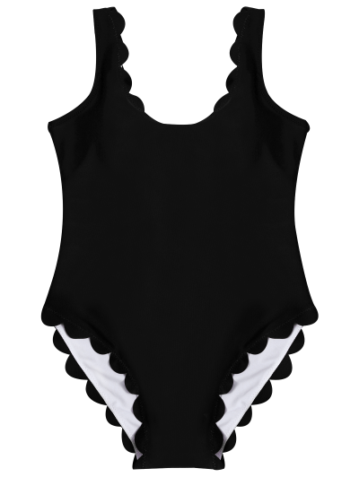 Scalloped U Neck One-Piece Swimwear - BLACK S Mobile