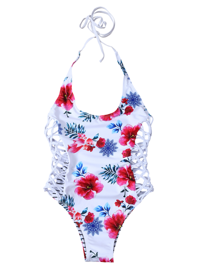 Lace-Up Floral One-Piece Swimwear - WHITE L Mobile