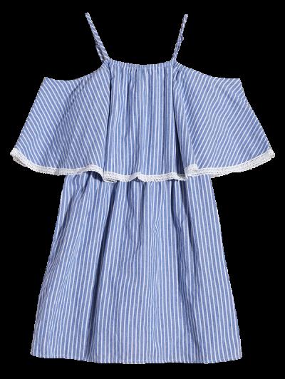 Stripe Cold Shoulder Casual Dress - BLUE L Mobile