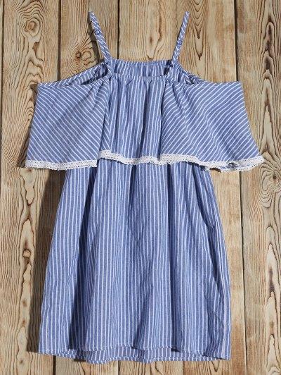 Stripe Cold Shoulder Casual Dress - BLUE M Mobile