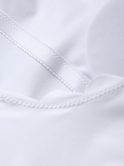 Scalloped U Neck One-Piece Swimwear - WHITE XL Mobile