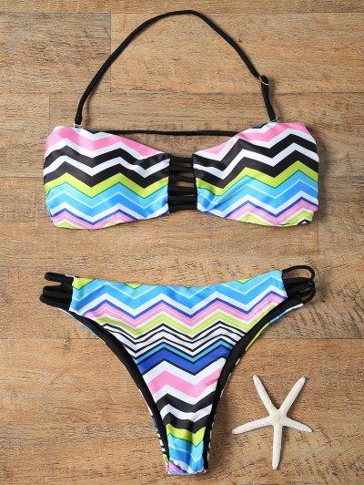 Chevron Stripe Strapless Bikini Set