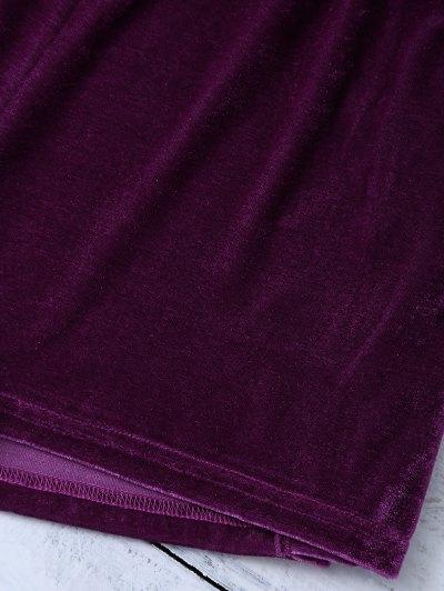 Lace Up Side Velvet Shorts - PURPLISH RED XL Mobile