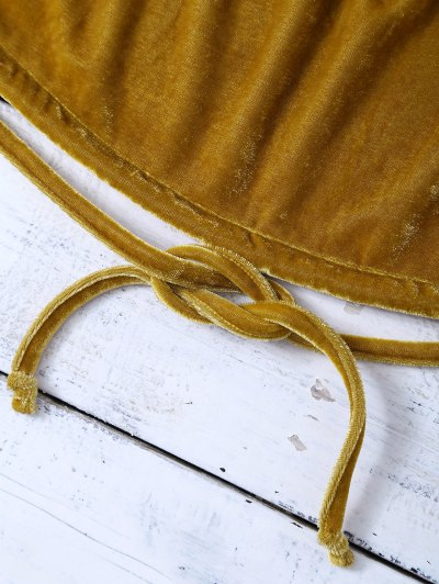 Halter Velvet Crop Top - GOLD BROWN XL Mobile