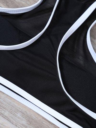 Voile Panel Tropical Print Bikini Set - BLUE L Mobile