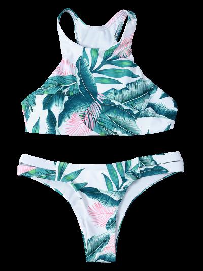 Lace-Up Tropical Print Bikini Set - GREEN L Mobile