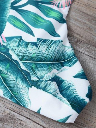 Lace-Up Tropical Print Bikini Set - GREEN M Mobile