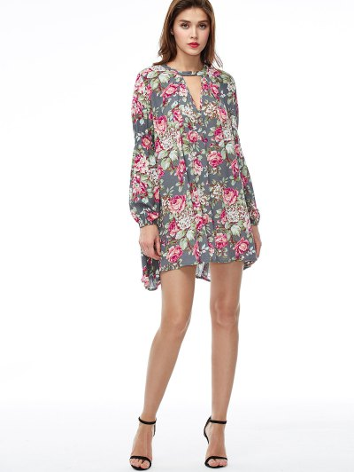 Keyhole Floral Print Swing Dress - FLORAL L Mobile
