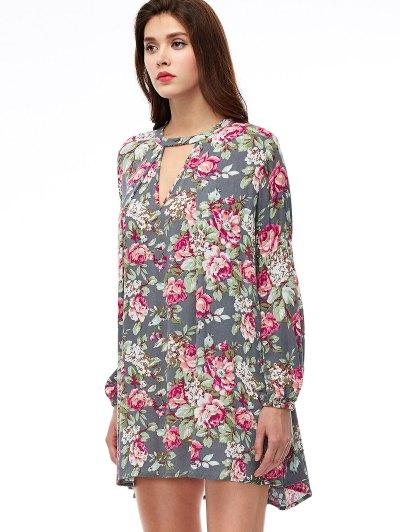 Keyhole Floral Print Swing Dress - FLORAL M Mobile