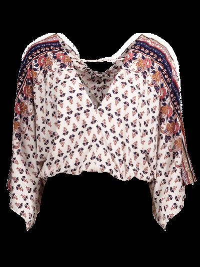 Lace Up Dolman Sleeve Blouson Top - OFF-WHITE L Mobile