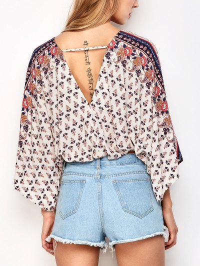 Lace Up Dolman Sleeve Blouson Top - OFF-WHITE S Mobile