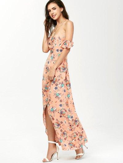 Off The Shoulder Maxi Floral Slit Dress - ORANGEPINK L Mobile