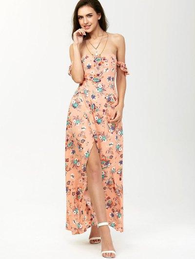 Off The Shoulder Maxi Floral Slit Dress - ORANGEPINK M Mobile