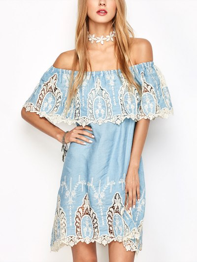 Crochet Overlayed Off The Shoulder Dress - LIGHT BLUE M Mobile