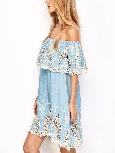 Crochet Overlayed Off The Shoulder Dress - LIGHT BLUE S Mobile