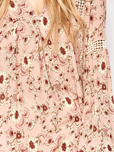 Floral Print Boho Swing Dress - PINK L Mobile