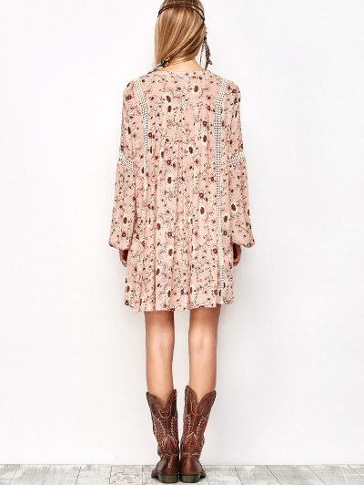 Floral Print Boho Swing Dress - PINK M Mobile