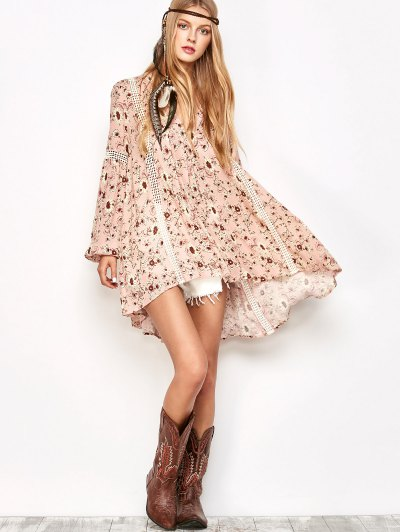 Floral Print Boho Swing Dress - PINK S Mobile