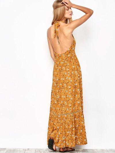 Halter Maxi Tiny Floral Beach Dress - YELLOW OCHER L Mobile