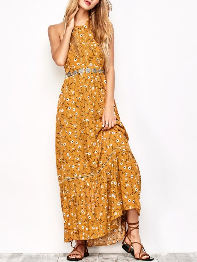 Halter Maxi Tiny Floral Beach Dress - Yellow Ocher M
