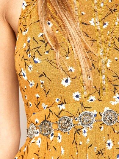 Halter Maxi Tiny Floral Beach Dress - YELLOW OCHER S Mobile