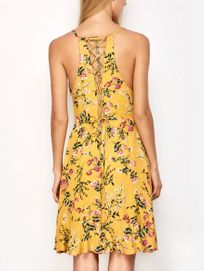Crossover Floral Print Cami Dress - YELLOW L Mobile