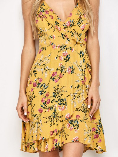Crossover Floral Print Cami Dress - YELLOW S Mobile