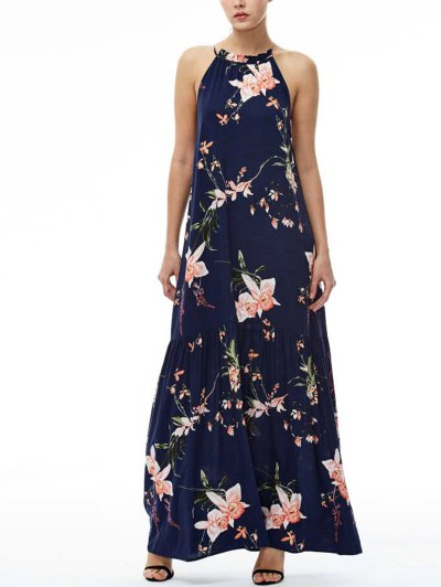 Maxi Floral Beach Dress - Navy Blue L