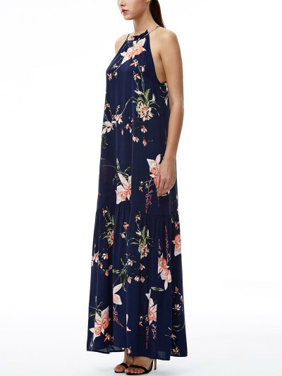 Maxi Floral Beach Dress - PURPLISH BLUE M Mobile