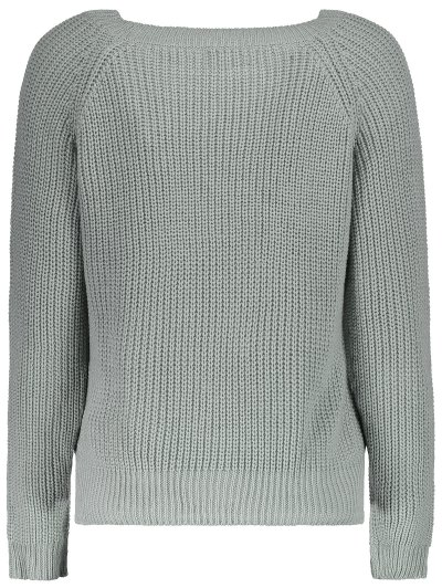 Boat Neck Loose Sweater - GRAY ONE SIZE Mobile