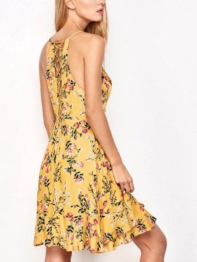Crossover Floral Print Cami Dress - Yellow
