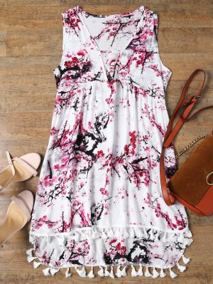 Low Cut Laciness High Low Dress - White