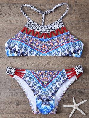 Ethnic Style Print Cut Out Bikini Set - Blue