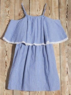 Stripe Cold Shoulder Casual Dress - Blue