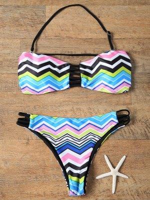 Chevron Stripe Strapless Bikini Set - Colormix S