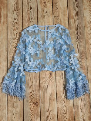 Fringed Flare Sleeve Sheer Lace Top - Light Blue