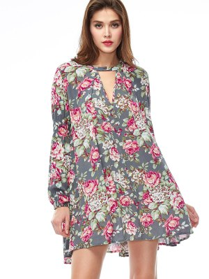 Keyhole Floral Print Swing Dress - Floral