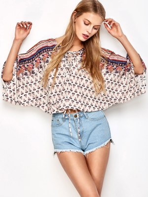 Lace Up Dolman Sleeve Blouson Top - Off-white